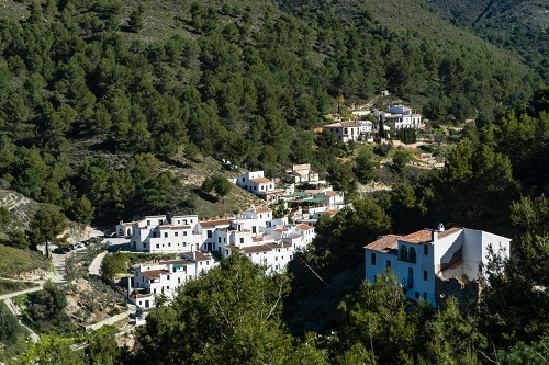 panoramic view of acebuchal village in andalusia spain