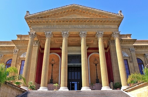 the exterior of the massimo theater, the biggest opera theater in italy
