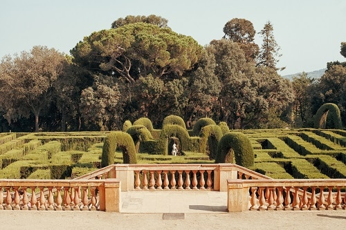 the gardens and labyrinth in barcelona's oldest park
