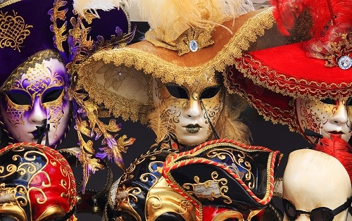 various venetian masks for sale in venice, italy