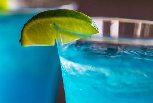 a close-up of blue's blue margarita recipe from carnival