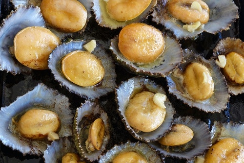 a pan of limpets, a traditional snack in the azores