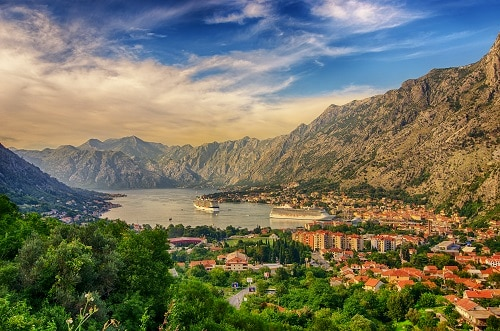 a panoramic view of the kotor harbor