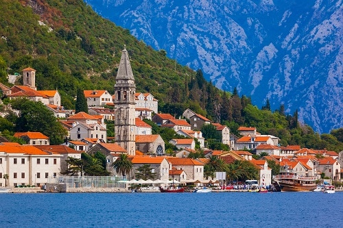 a scenic view of a village in kotor
