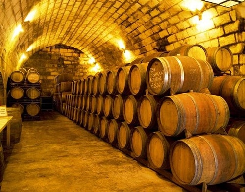 barrels of wine from a mallorca winery