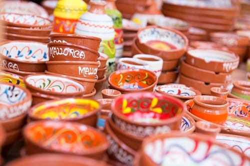colorful, ceramic bowls from mallorca