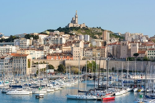 the marseille harbor in france
