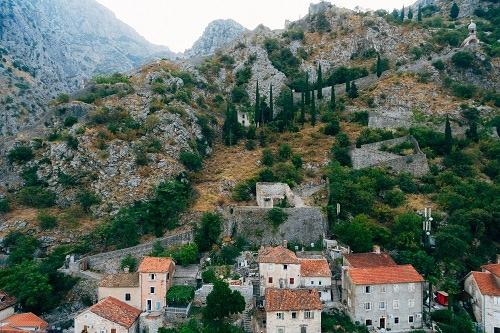 the wall around the city on the mountains of kotor