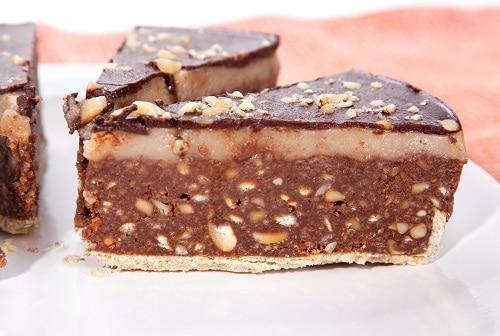 a slice of bajadere cake