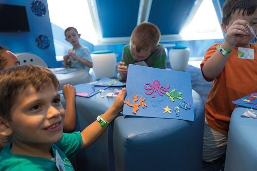 children making crafts at camp ocean