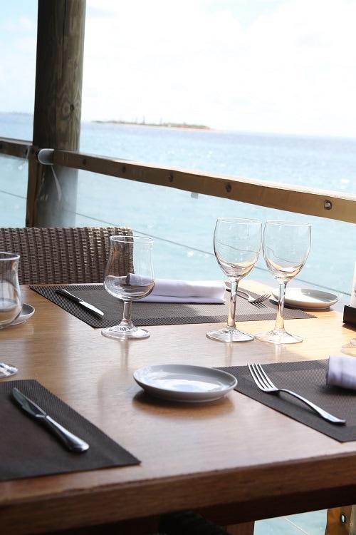 dining table setup outside a ship