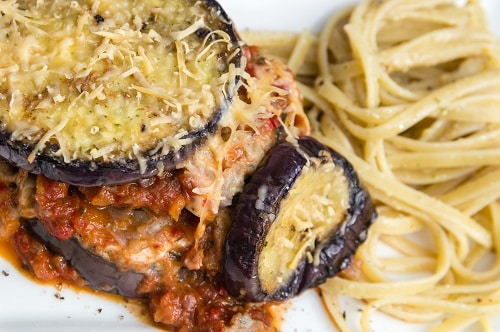 eggplant parmigiana with pasta on the side