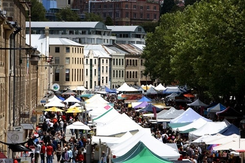 a marketplace in hobart, australia
