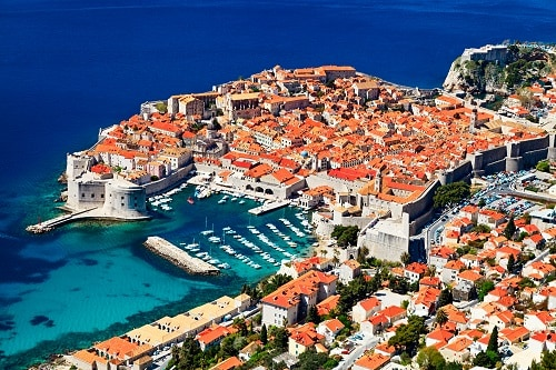 an aerial view of old town dubrovnik on a sunny day