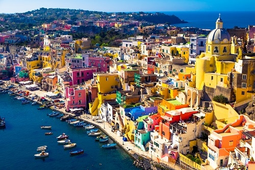 the island of procida in naples, italy