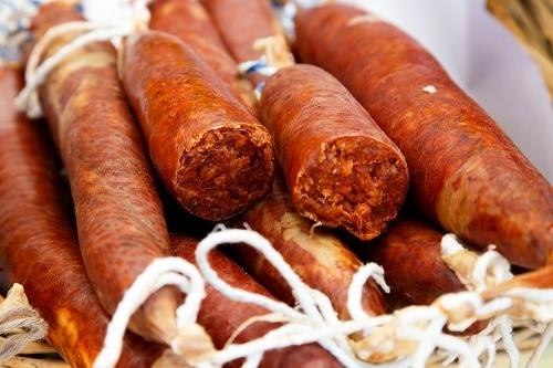typical sausage from palma de mallorca called sobrassada