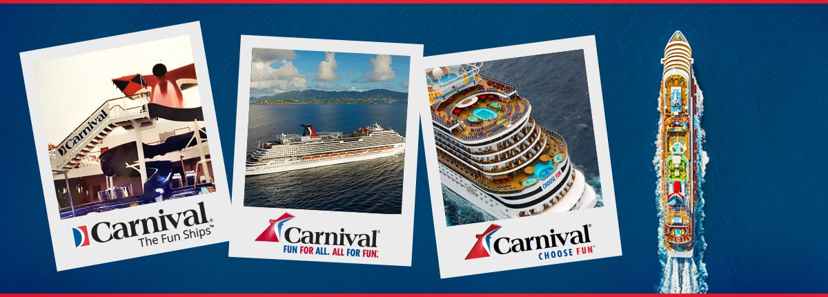 a carnival cruise line ship sails pass a collage of photos that depicts historical moments of carnival and its logos