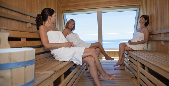 See seaside sights in the sauna.