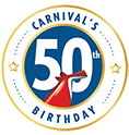 carnival's 50th birthday logo with the carnival funnel