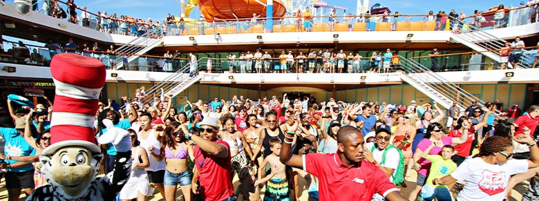experience a deck party with the crew and other guests