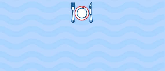 a plate, fork and knife icon superimposed on a wave textured background
