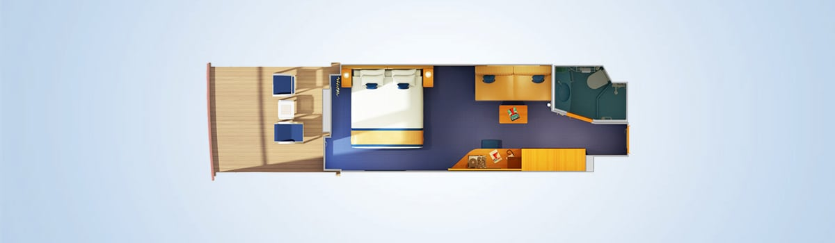 Carnival Vista Aft-View Extended Balcony Stateroom Floorplan