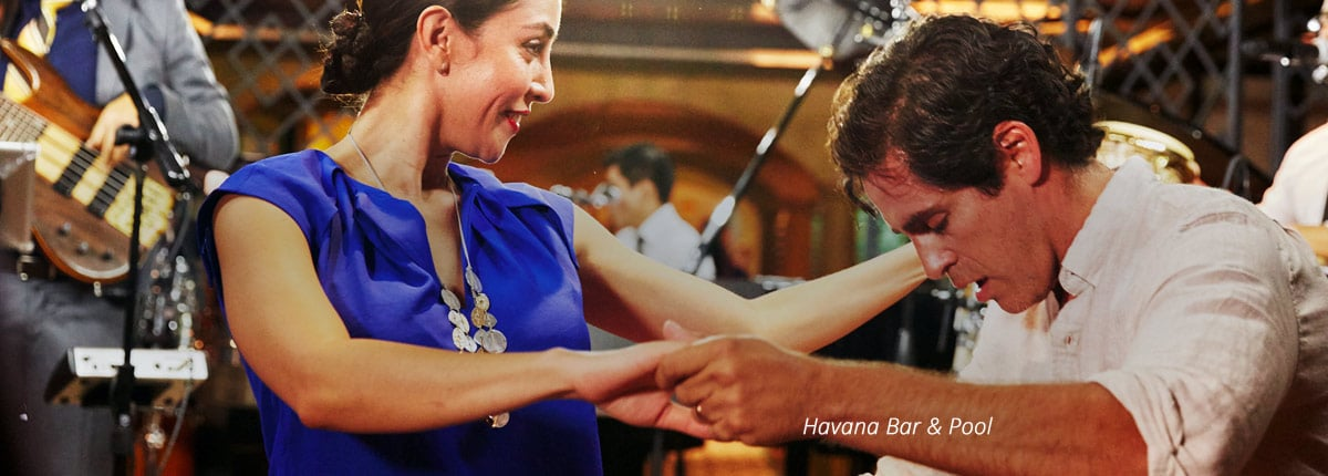 couple dancing at the havana bar on carnival vista