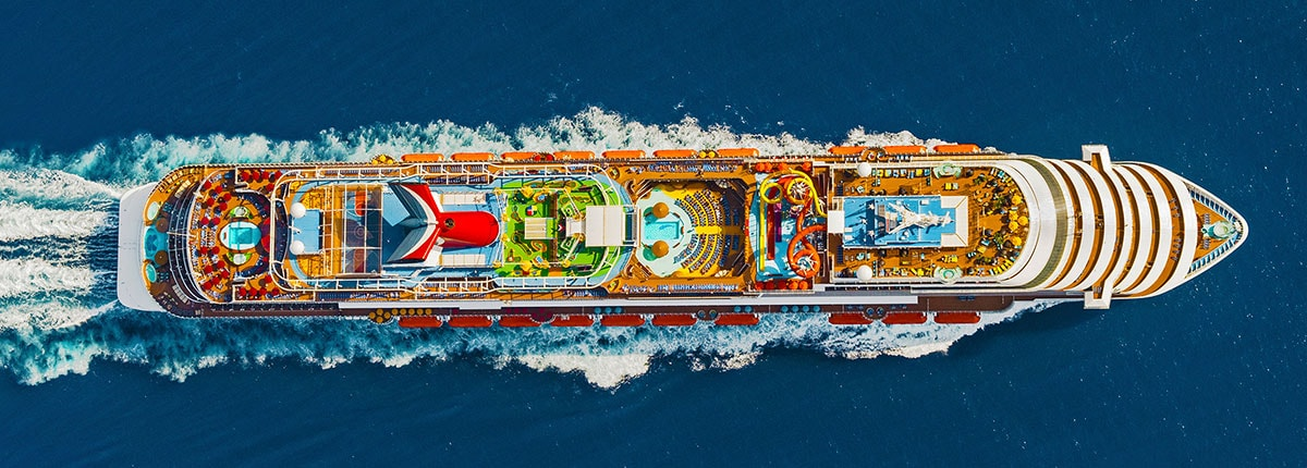 aerial view of carnival vista sailing out at sea