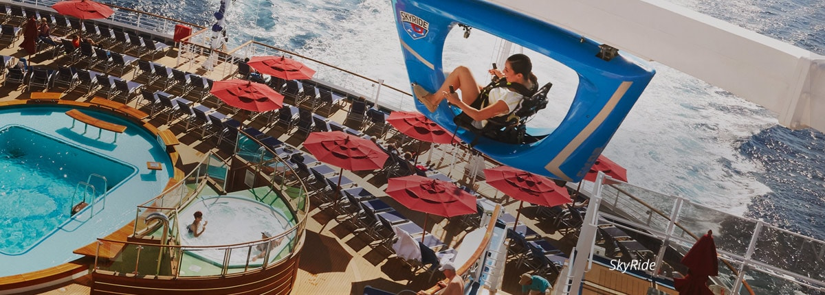 woman riding on the skyride on carnival vista