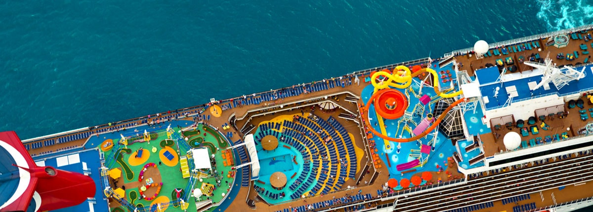 aerial view of a carnival cruise ship