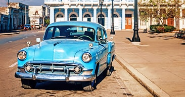 a classic car parked on a Havana street