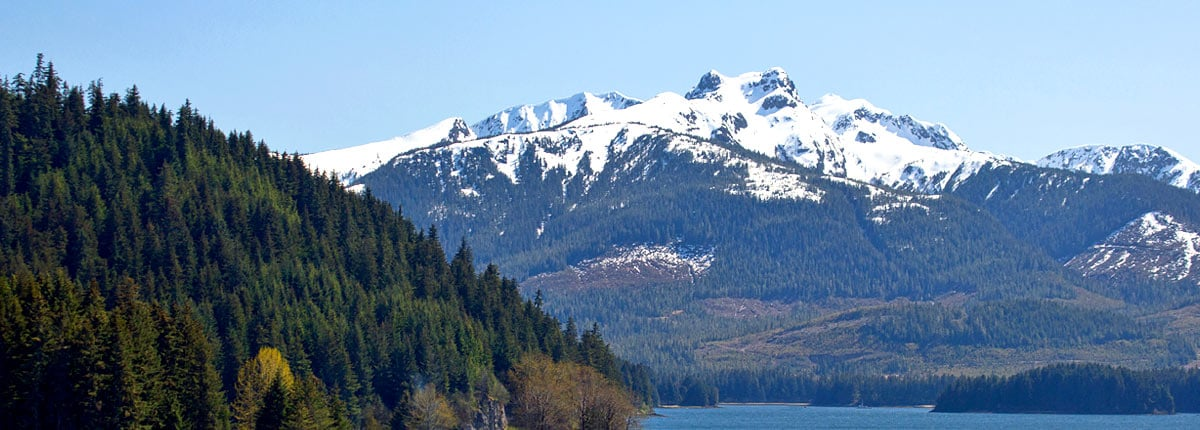 Snow-capped mountains and green forests in Icy Strait Point, Alaska