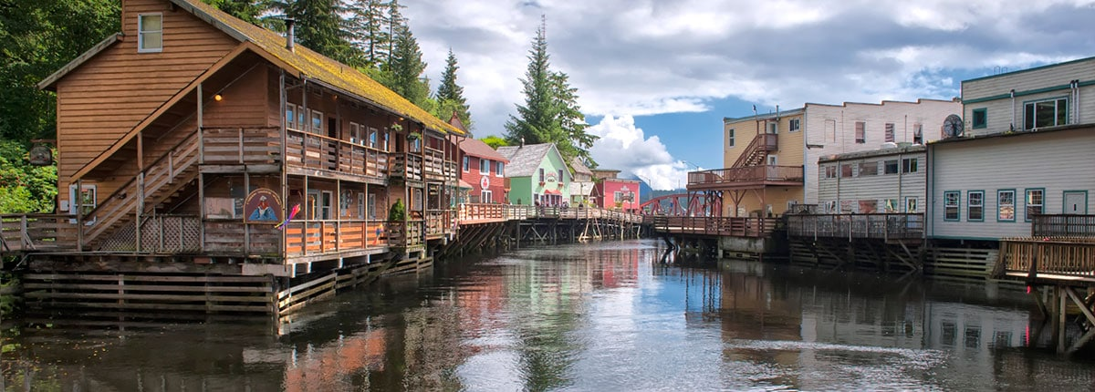 picturesque view of creek street in ketchikan