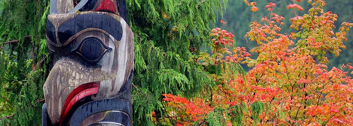 famous totem poles in totem night state park in ketchikan