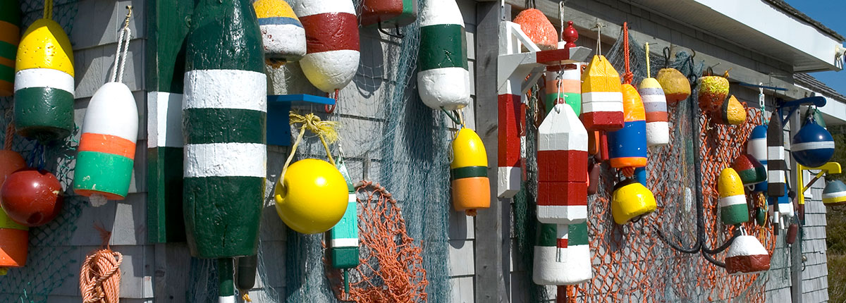colorful fishing buoys in halifax