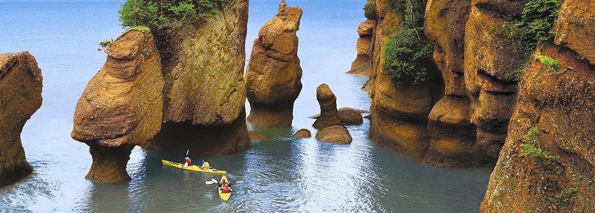 take a kayak tour of the famous hopewell rocks