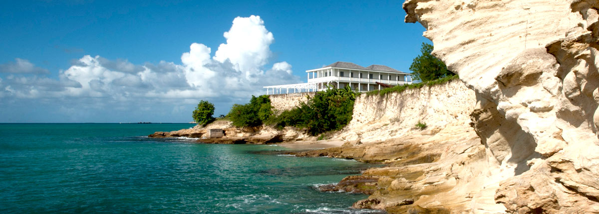 view the rocky coast of antigua