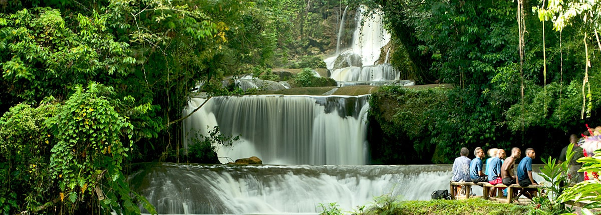 enjoy the views of the spectacular waterfalls near montego bay