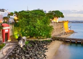 view the historic cobblestone architecture of san juan