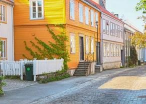 the bakklandet neighborhood in trondheim