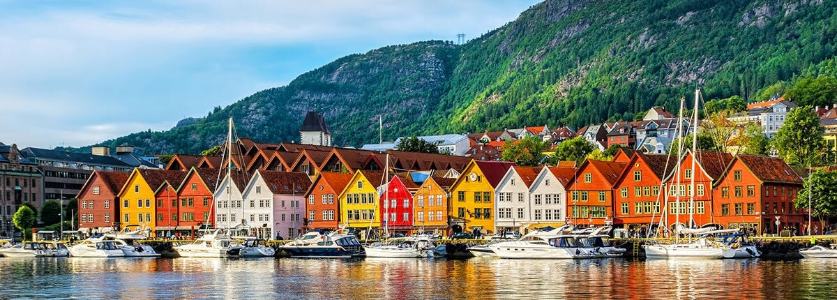 historical buildings in bryggen- hanseatic wharf in bergen, norway