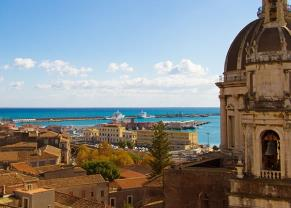 cathedral cupola and the catania city town in catania, sicily