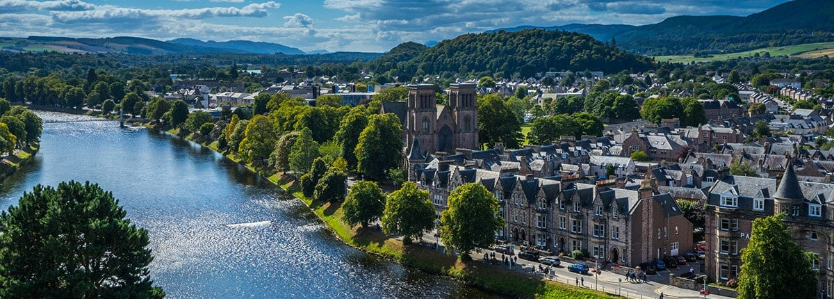 view of the canal and skyline of inverness, scotland