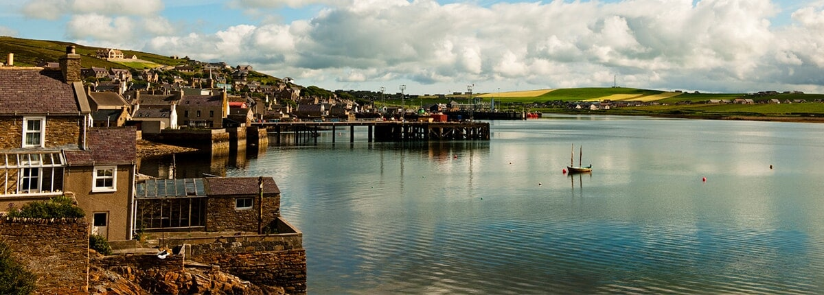 view of the harbor in kirkwall, orkney islands, scotland
