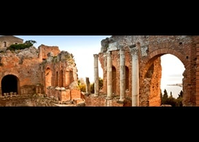 visit the ancient greek taormina theatre in siciliy