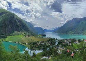 panoramic view of the town of skjolden, norway