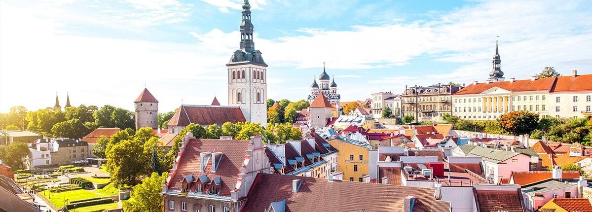 the bright sun shines on the tallinn old town showcasing the vibrant trees and colorful roof tops