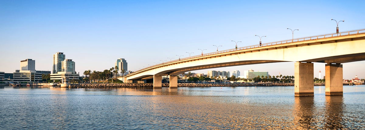 View of a bridge in Long Beach, California