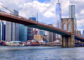 view the statue of liberty and brooklyn bridge in nyc
