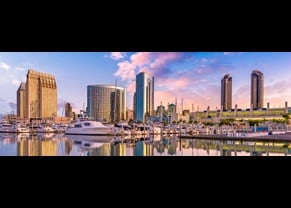 view of san diego skyline and marina